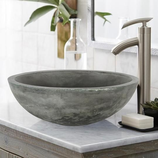 Large Sardis Round Cast Concrete Vessel Sink Copper Green