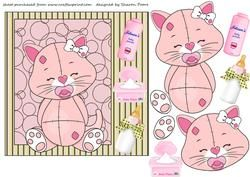 Baby Girl Kitty Square Card Front