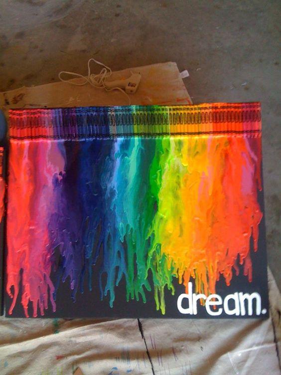 Canvas, Crayons, Blow Dryer