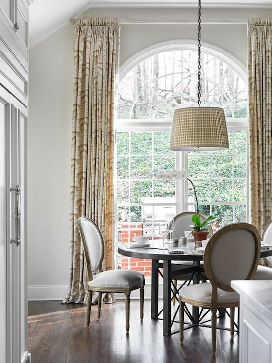 Brunschwig Fils Talavera Drapes On Arched Window In Dining Room