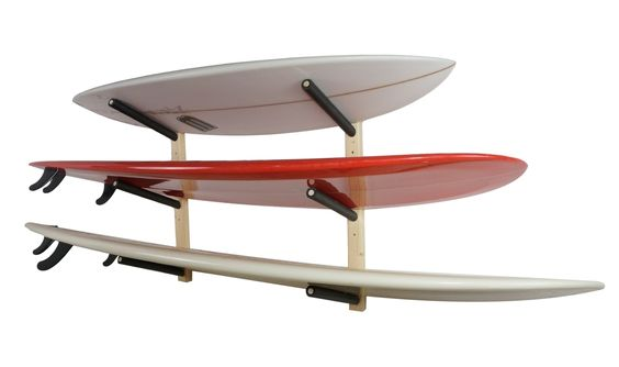Wooden surfboard rack that holds 3 boards.