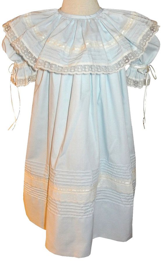 GIRL'S HEIRLOOM DRESS in Blue Batiste with by ChildrensCottage
