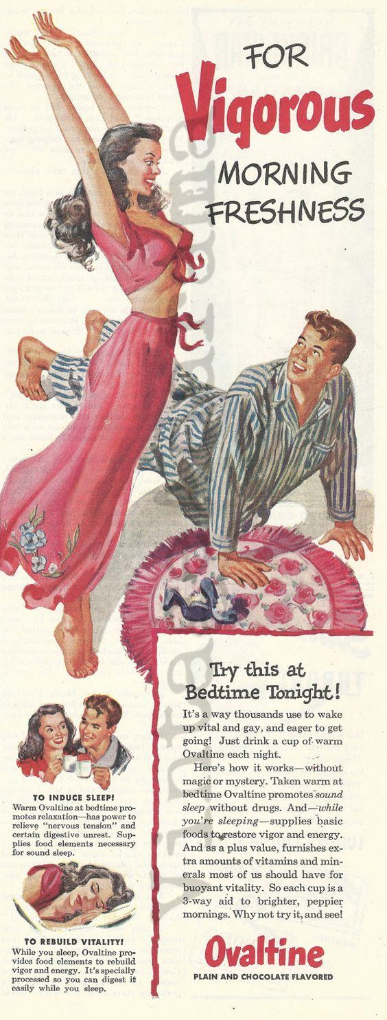 Sexy Ovaltine Original 1946 Vintage Print Ad w/ by VintageAdarama: