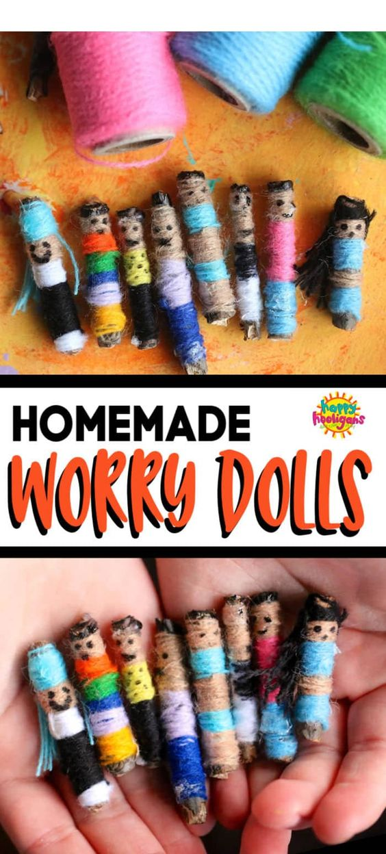 Guatemalan Worry Dolls are fun and easy to make, and so darn CUTE! Great for kids with bedtime worries and anxiety! Tell your worries to your dolls, tuck them under your pillow, and the dolls will take your worries away while you sleep. Super craft camp craft for kids ages 7 and up. #HappyHooligans #CraftCamp #CraftsForKids #KidsCrafts #YarnCrafts #DollCrafts #HomemadeDolls #EasyCrafts #KidsCraftIdeas