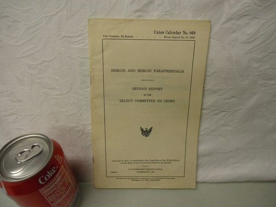 1971 heroin committee on crime book. 45 years old, great reading