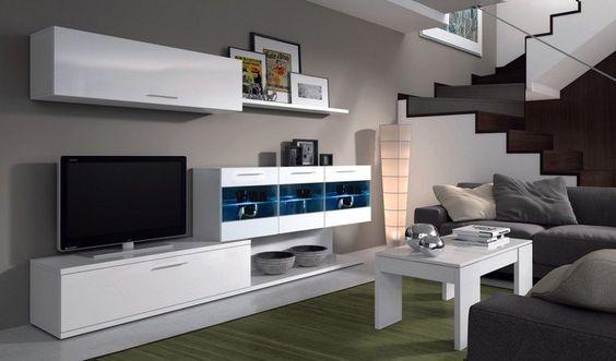 meuble télé mural blanc avec armoire vitrine à éclairage LED intégré