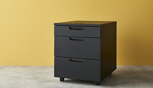 This Galant Unit On Castors For Office Use Comes In Black Stained Ash Veneer And Has Three Drawers Of Different Sizes Drawer Unit Storage Drawers Drawers
