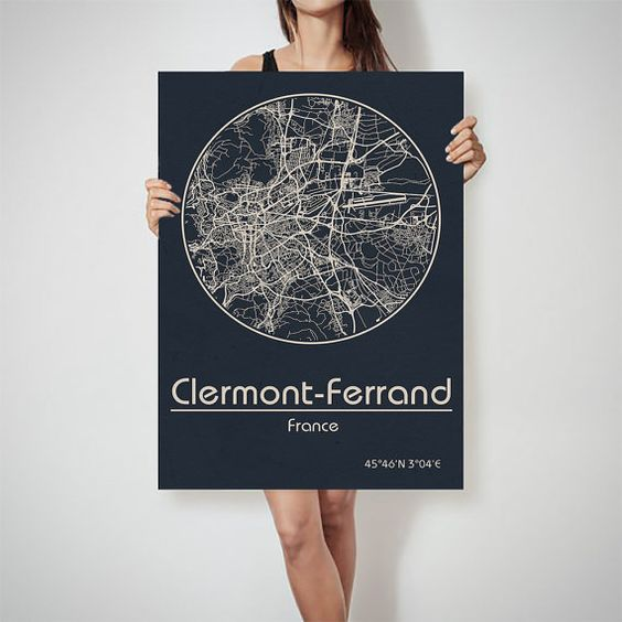 Clermont Ferrand France map City Street Map Art Print Poster City – Streetmap France