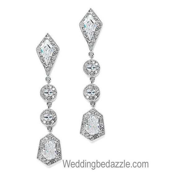 Bridal Earrings Vintage Wedding Style CZ Dangle (¥8,180) ❤ liked on Polyvore featuring jewelry, earrings, accessories, bridal jewelry, cubic zirconia bridal earrings, vintage jewelry, long earrings and cz jewelry