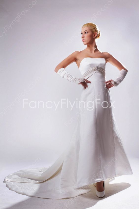fancyflyingfox.com Offers High Quality Retro Dipped Neckline A-line Full Length Satin Wedding Dresses With Sash  ,Priced At Only US$189.00 (Free Shipping)