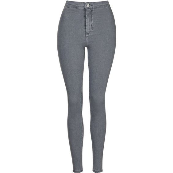 TOPSHOP MOTO Grey Joni Jeans ($65) ❤ liked on Polyvore featuring