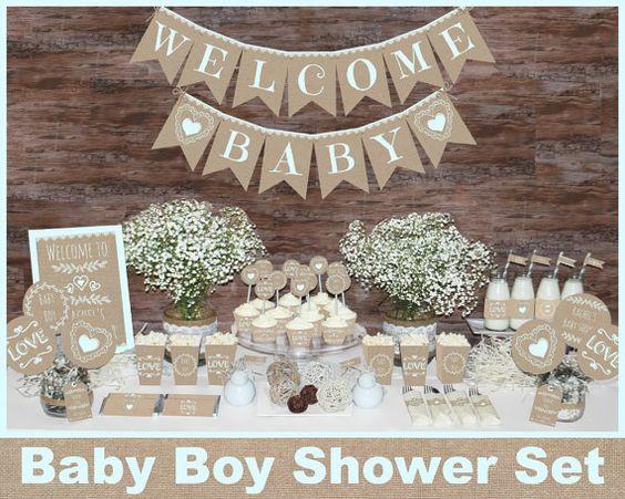 Rustic Baby shower decorations printable Boy by MagicPartyDesigns.  Hummmmmmmmm