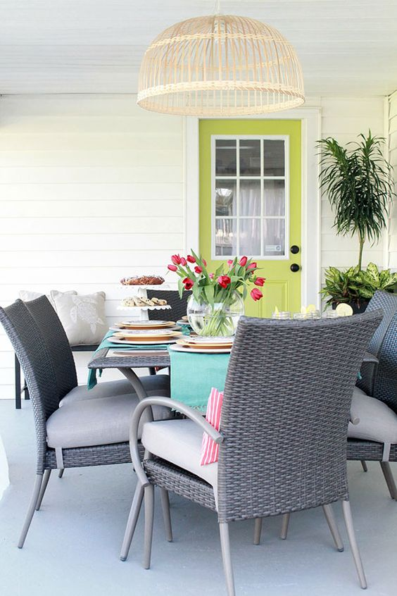 Colorful Covered Porch Ideas with Outdoor Dining Set: