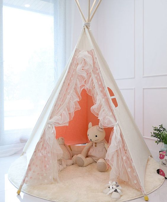 Pink lace teepee tent, play tent, kids tent, play house, indian tent on Etsy, $257.43: