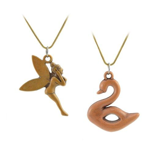 """ANTIFORMAL """"Lovely Swan Swimming"""" Faux Wood-Carved Pendant with Antique Bronze Chain"""