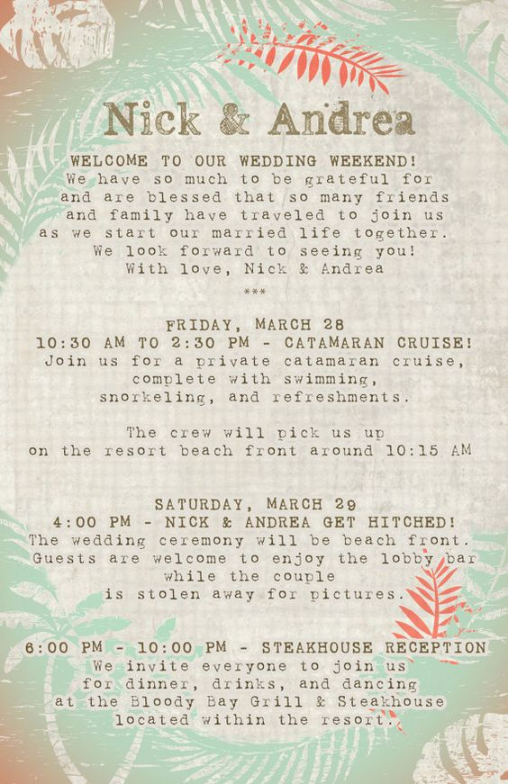 20 destination wedding itinerary programs scheduals With destination wedding invitations itinerary