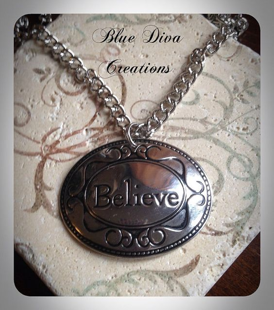 BelieveSilver Oval Message Pendant by bluedivacreations on Etsy, $15.00