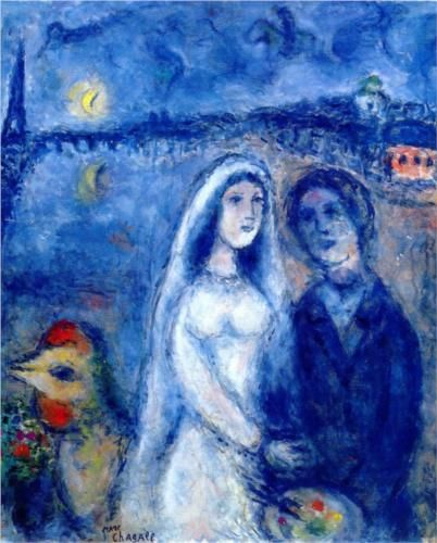 Newlyweds with Eiffel Towel in the Background - Marc Chagall