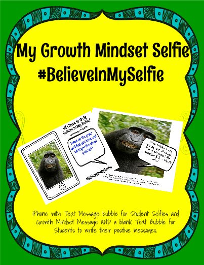 Your students love taking selfies, so turn that love into an opportunity for students to write a Growth Mindset text message. This template is great to get students thinking about Growth Mindset, and will look great on your bulletin board, too!
