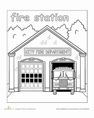 places around town coloring pages | Paint the Town: Fire Station | Pinterest | Coloring ...
