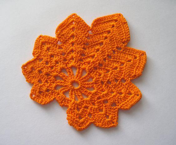 Crocheted Maple Leaf Mini Doily Coaster Applique Orange A Well