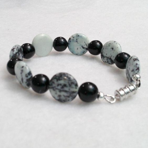 white turquoise and black onyx beadwork bracelet, $24