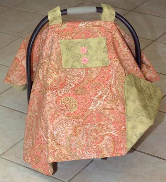 Baby Seat Cover in Coral and Sage by Debsflorals on Etsy, $32.99