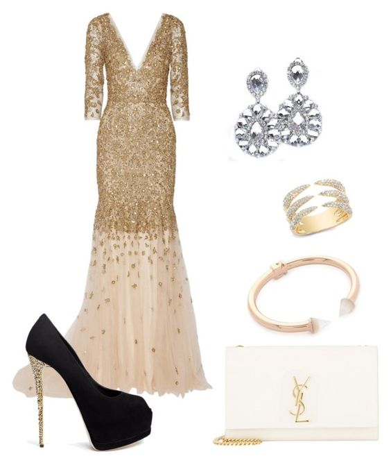 """""""emmy awards"""" by pierresophie on Polyvore featuring Vita Fede, Marchesa, Giuseppe Zanotti and Yves Saint Laurent"""