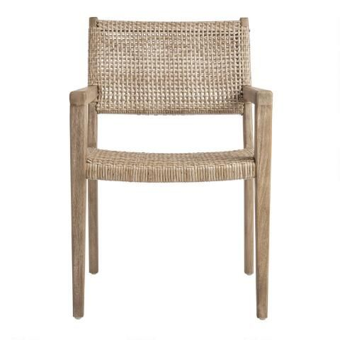 Natural Open Weave Catalina Outdoor Dining Armchair World Market Wicker Dining Chairs Outdoor Dining Chairs Modern Dining Arm Chairs