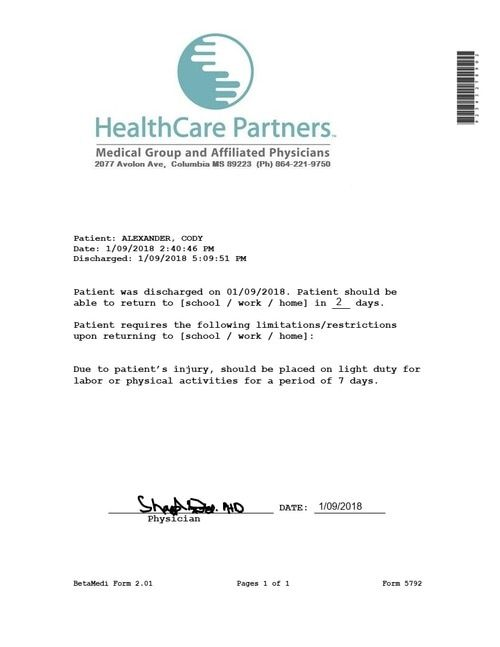 Emergency Note Medical With Images Doctors Note Template
