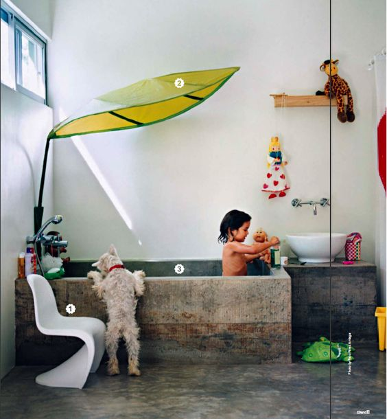 "tropical bathroom via dwell ""Make it Yours"" - (the coolest family bathroom I've ever seen anyway!):"