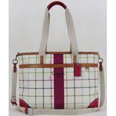 #Coach Cream and Fuschia Striped Diaper Bag