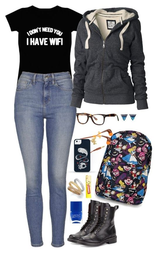 """Gail"" by anna-fozo ❤ liked on Polyvore featuring Disney, Topshop, rag & bone, Fat Face, Carmex and Lipsy"