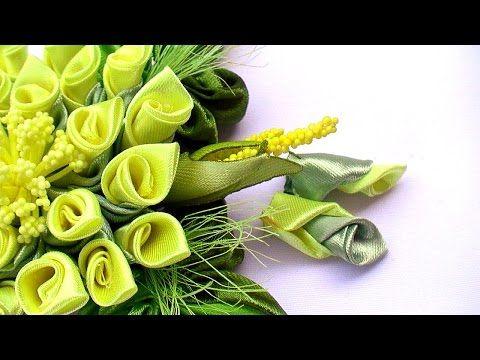 Цветок с Бусинами из лент. Без ниток / DIY Ribbon flower with beads. grosgrain…