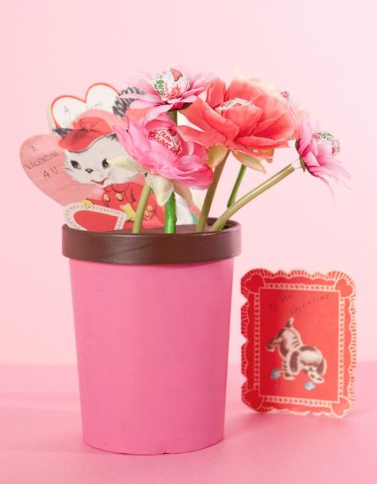 "DIY Valentine ""Flower Pot"" Valentine Card holder using a repurposed ice cream container. Brilliant! From One Charming Party"