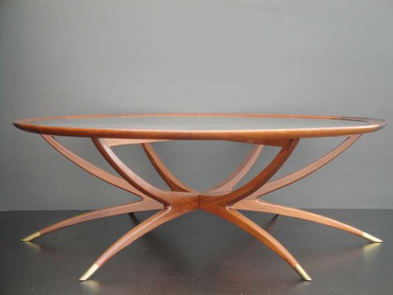 Mid Century Spider Leg Teak Coffee Table With Clear Glass Top Spider Legs Teak Coffee Table