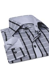 Chemise homme grise à carreaux gorge blanche (Double Retors)