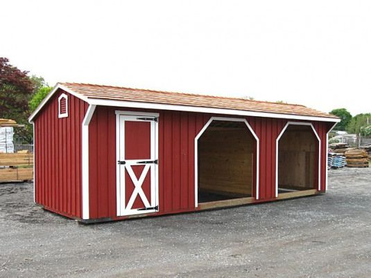 Run In Shed With 10x10 Run Ins And 10x8 Storage Room Could Make The Runs Bigger To Double As Stalls Add Dutch Doors On Both Sides Set It On A Fen With Images
