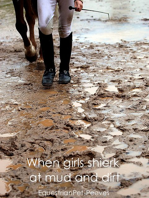 .... Get over yourself! Equestrians live in mud and dirt!