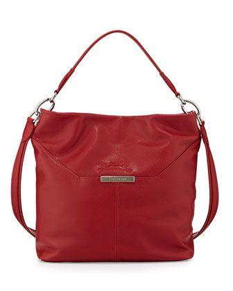 Le Foulonne Leather Hobo Bag, Vermillion by Longchamp at Neiman Marcus.