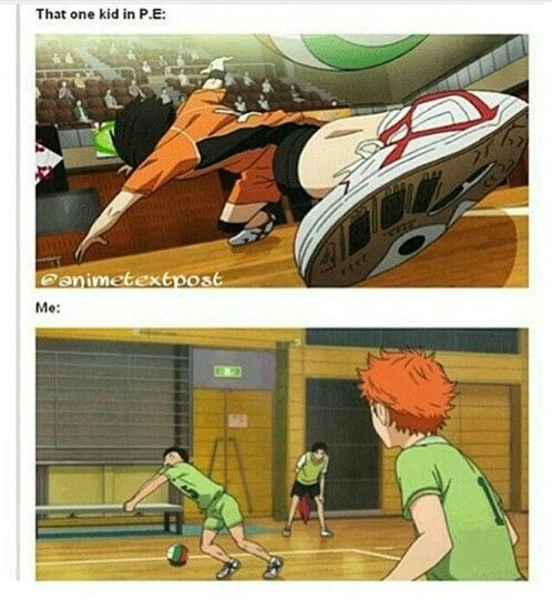XD omg this is literally me in P.E. my friend is the athletic one ;-;