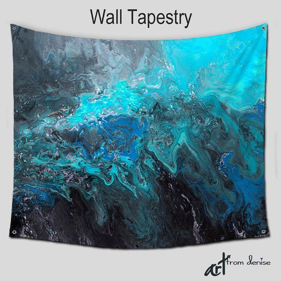 wall hanging hippie tapestries abstract art tapestry large boho teal turquoise cobalt blue. Black Bedroom Furniture Sets. Home Design Ideas