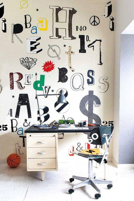 Embellir un mur d'ado avec des lettres de différents graphiques