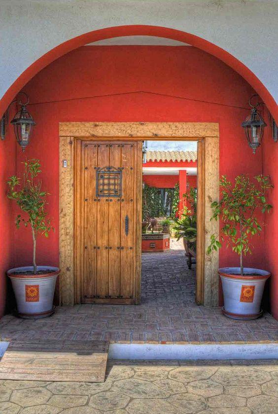 Entrance of Hotel Sindhura, La Muela near Conil de la Frontera, Andalusia_ Spain
