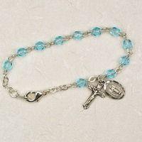 Deluxe 5 1/2 inch Aquamarine baby Rosary Bracelet