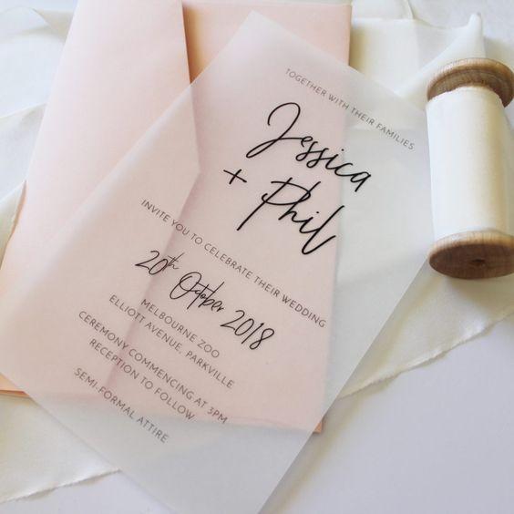 Simple Transparent Translucent Diy Wedding Invitation For Beach Wedding Beach Wedding Invitations Wedding Invitations Diy Wedding Invitation Wording