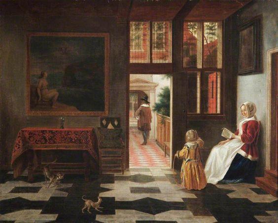Dutch Interior by Pieter de Hooch (1629–1684) (after)