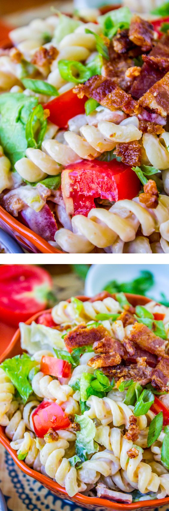 Easy BLT Pasta Salad / This is a great no-brainer dinner! Or perfect side dish for the potluck. I love summer tomatoes!