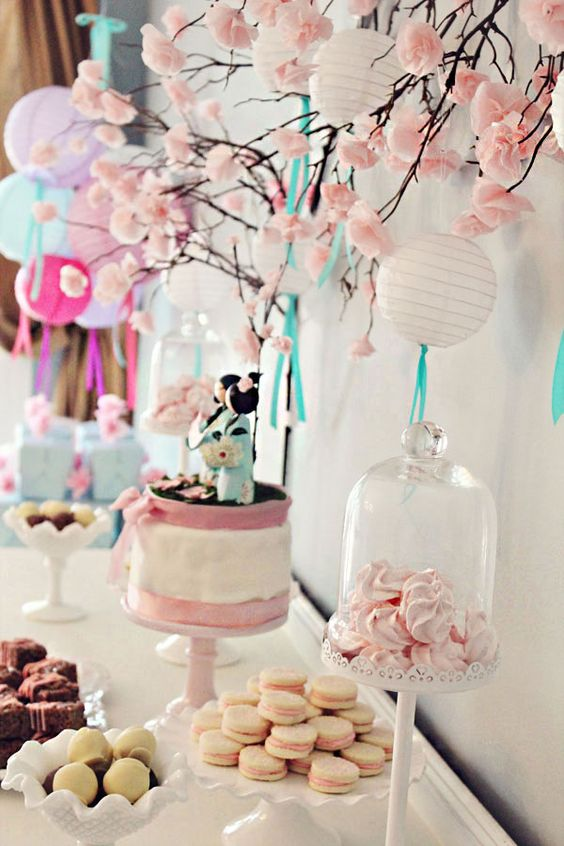 Japanese themed tea party. Cute for a birthday or baby shower.: