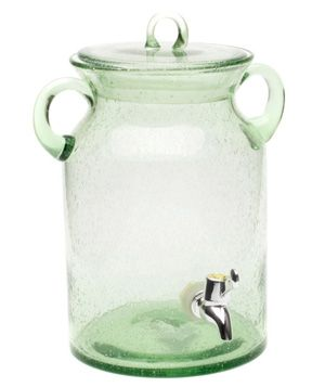 Tag Vintage Jar Drink Dispenser - Revel in vintage bliss by entertaining with this green-tinted jar complete with thick glass handles for easy transport.